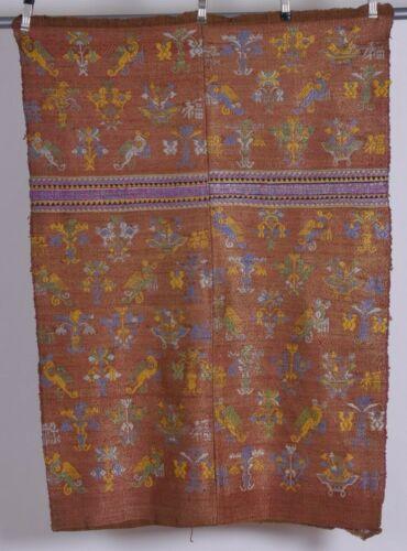 Vintage fine silk thread woven fabric, textile ethnic colorful large unique