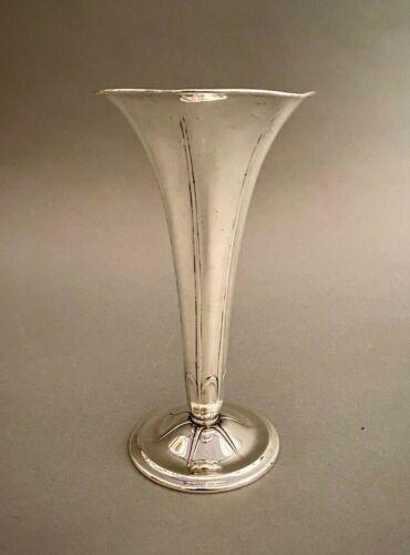 """Vintage Signed Tiffany & Co. Sterling Silver Paneled 9"""" Trumpet Vase 9.33 ozt"""