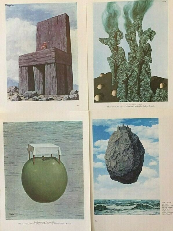 "with border RENE MAGRITTE La Magie Noire 27.5/"" x 19.75/"" Poster Surrealism"