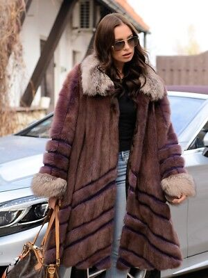 NEW MINK FUR SWINGER COAT FOX CLASS RUSSIAN SABLE CHINCHILLA LONG JACKET PONCHO, used for sale  Shipping to Canada