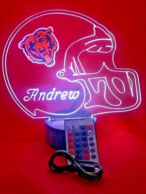 Chicago Bears NFL Football Lamp LED Light Up With Remote Free Personalized Lamp