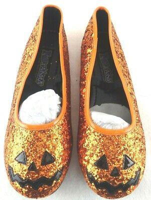 NEW Halloween Glitter Pumpkin Shoes Ballet Flats Fantasma Size L (2-3) - Halloween Ballet Pumpkin