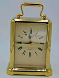 Seiko Desk&Table Carriage Clock Alarm Brass 1NZJ Battery Works Perfect Mint