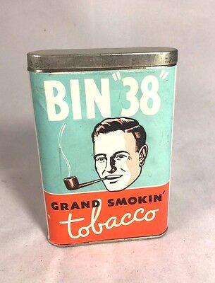 "Vintage Bin ""38"" Grand Smokin' Pocket Smoking Tobacco Tin Antique San Antonio"