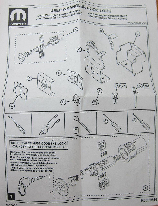 2007 2018 Jeep Wrangler Jk Hood Lock Mopar Oem Ebay Diagrams