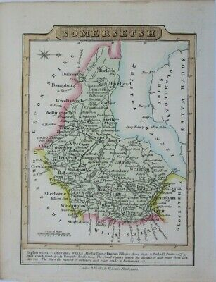 Antique map of Somersetshire by William Lewis 1819
