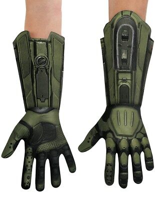 Master Chief Halo Gloves Mens Adult Deluxe Green Gauntlets Costume Accessory