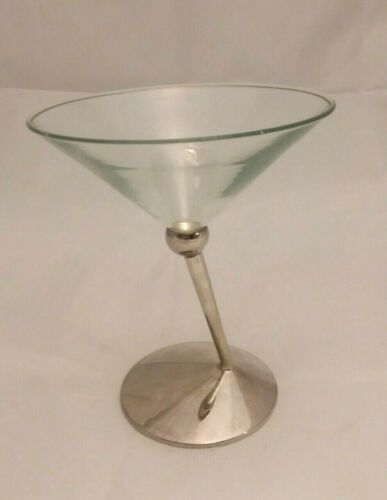 """S/4 - Beefeater Martini Glasses-Silver-tone slanted Stems """"Classic Collectibles"""""""