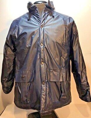 - Duck Bay Mens Vintage Hooded Rain Coat/Jacket-Flannel-Lined/Waterproof/Blue-L