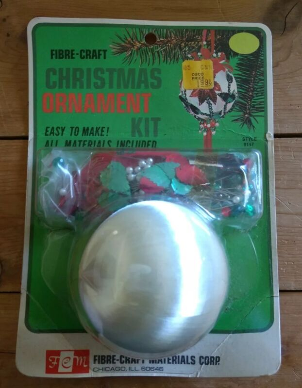 Vintage Fibre Craft White Christmas Ornament Kit Sequin Jeweled Pearl Satin 1973