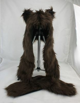 Unisex Bear Animal Hoodie Hat Faux Fur Paw Prints Mitten Gloves Pocket Cap X'mas