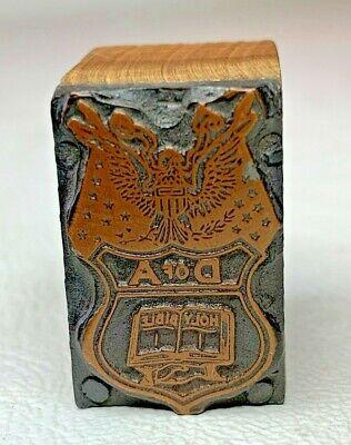 Daughters Of America Antique Copper Letterpress Printers Wood Block