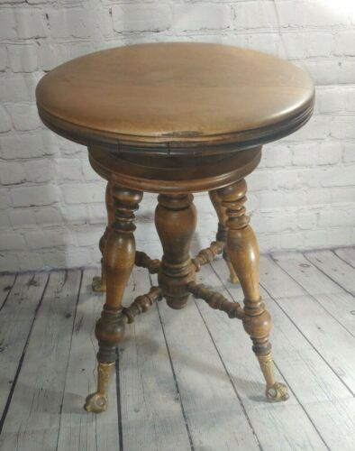 VINTAGE OAK SWIVEL ADJUSTABLE FOUR-LEG GLASS BALL CLAW FOOT PIANO STOOL