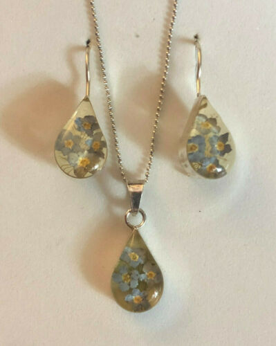 Sterling Silver Earrings Necklace Set Real Flowers Resin Teardrop 5g 925 #1217