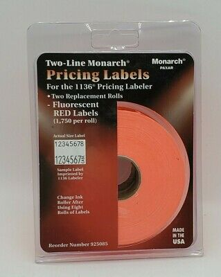 Monarch Paxar Two Line Pricing Labels 2 Rolls For 1136 Pricing Labeler New