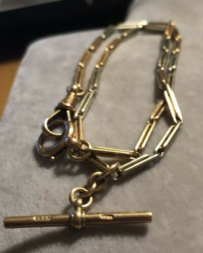ANTIQUE ART DECO 9 CT WATCH CHAIN ROSE GOLD/ WHITE GOLD RARE COLLECTABLE T-BAR