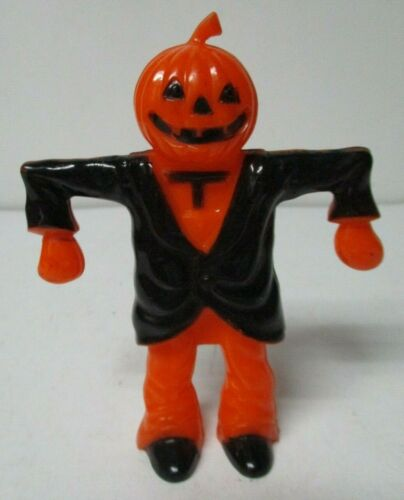 Vintage Halloween Hard Plastic - Scarecrow JOL w Black Coat Candy Container