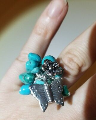 NEW Turquoise Bead Dangle Cha Cha Ring w/ Butterfly and Flower Charm: Size 7