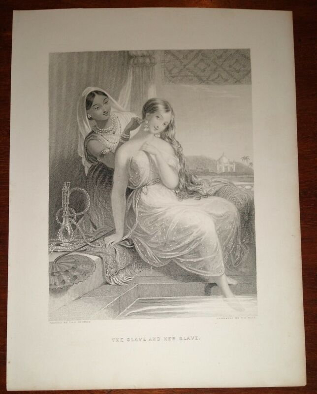 "Rare Original 19th Century Engraving ""The Slave and Her Slave"""