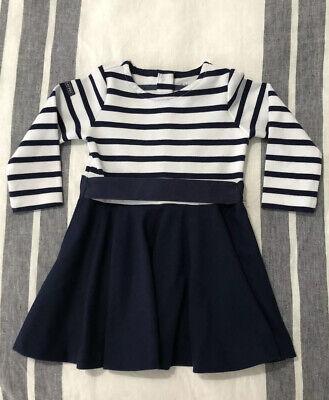 Baby Girl's Size 9 Months Ralph Lauren Navy Blue/White Striped Dress 9M