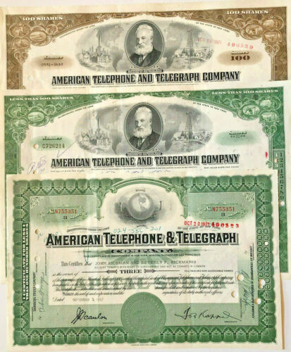 American Telephone and Telegraph Company > set of 3 AT&T stock certificates