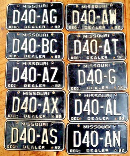 VINTAGE MISSOURI DEALER LICENSE PLATES D-40  BLACK Steel