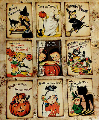 Halloween Party Craft (9 Vintage Halloween Kids~Craft Cards~Scrapbooking~Card Making~Party Favors)