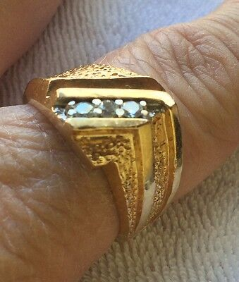 Estate 14K Yellow Gold 7.5 Grams 3 Diamonds Men's Dads Band Ring Size 9