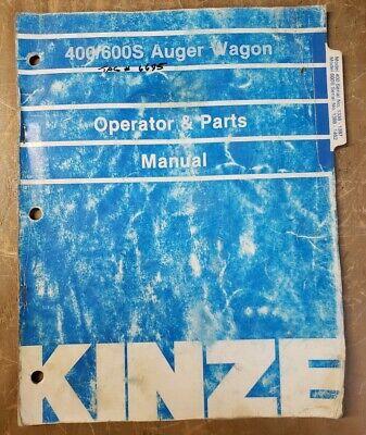 Kinze Operators Parts Manual 400600s Auger Wagon 1j-3200-m3