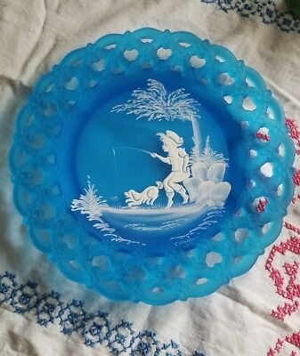 Vtg Westmoreland Blue Mist Hand Painted Mary Gregory boy fishing with dog Plate