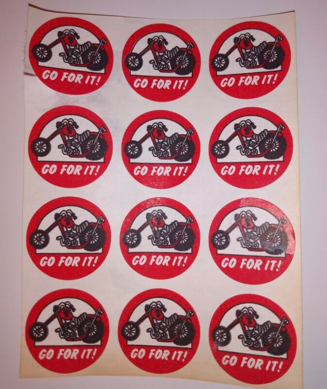 (12) Vintage 80s Matte TREND Scratch & Sniff stickers Motorcycle~Motor Oil