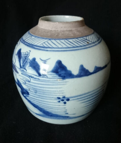 18TH CENTURY ANTIQUE HANDPAINTED CHINESE UNDERGLAZE BLUE CANTON GINGER JAR