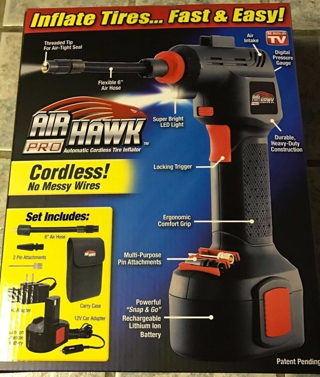 New Air Hawk Pro Automatic Cordless Tire Inflator As Seen