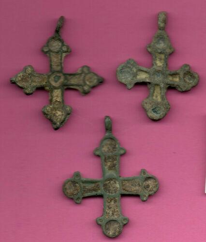 Lot of 3 Russia Enemaled Bronze Ortodox Cross 1050 11-12th Viking Byzantine 695