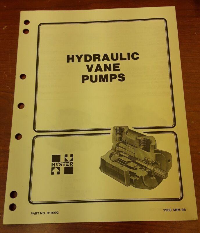 Hyster Hydraulic Vane Pumps Manual Part No.910092