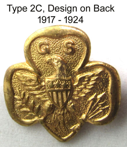 1917-24 Type 2-C Girl Scout MEMBERSHIP PIN, RARE Excellent CHRISTMAS GIFT