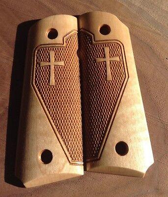 Laser Engraved Crosses -  1911 Grips  Maple Laser engraved Tactical Checkered Cross Officer/Defender