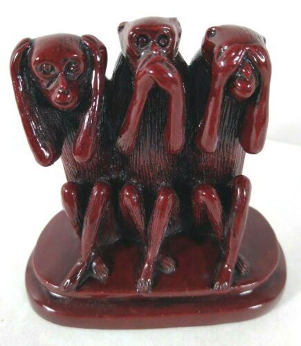 SEE SPEAK HEAR NO EVIL MONKEY TRIO STATUE Office Library Figurine Sculpture Art