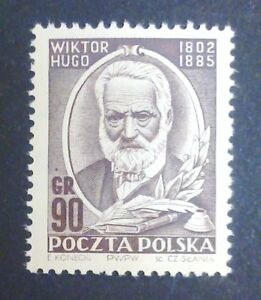 POLAND STAMPS MNH Fi635 Sc559 Mi774 - Victor Hugo,1952, clean, SŁANIA, SLANIA - Reda, Polska - POLAND STAMPS MNH Fi635 Sc559 Mi774 - Victor Hugo,1952, clean, SŁANIA, SLANIA - Reda, Polska