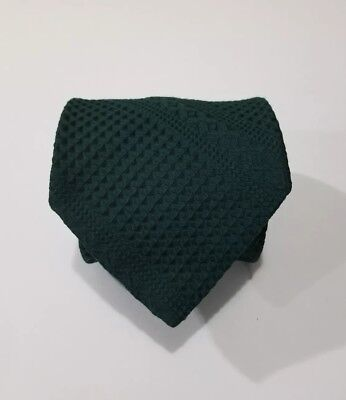 Vintage Wemlon By Wembley Textured Wool Polyester Olive Solid Green Tie England