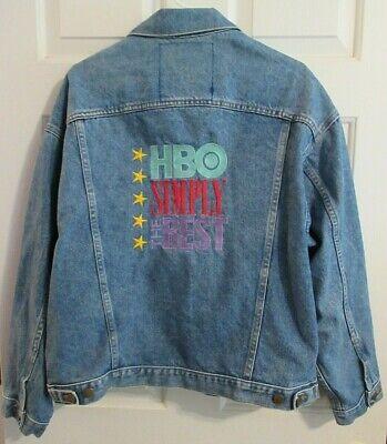 HBO Jean Jacket SIMPLY THE BEST Blue 100% Cotton Denim Vintage Trucker Mens