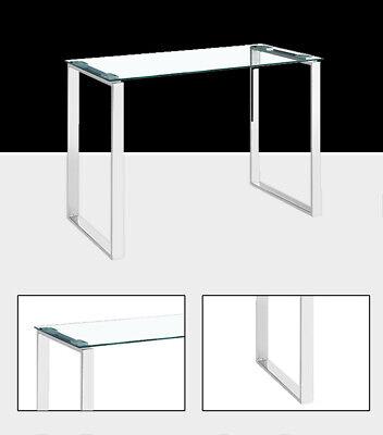 Mesa estudio cromado + cristal templado transparente 100x50