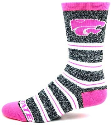 Kansas State Wildcats NCAA Gray Marbled Pink Melange Stripe Crew Socks ()