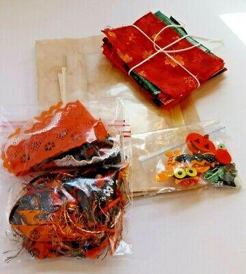 Vintage Halloween Craft Supplies (Junk Journal Supplies Vintage Paper Kit Scrapbook Halloween Fabric lace)