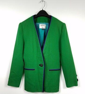 Kasper Vintage Jacket Size 6 80's Wool Long Green Purple One Button