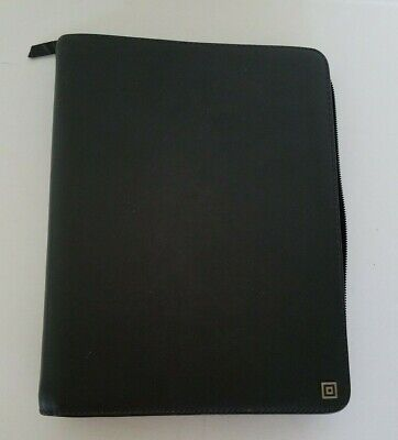Leather 6-ring Binder Portfolio Padfolio Zipper Organizer Black Small 8 X 10