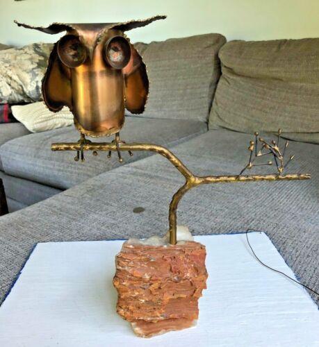 VINTAGE CURTIS JERE MID CENT. MODERN OWL ON A BRANCH METAL SCULPTURE SIGNED 1969