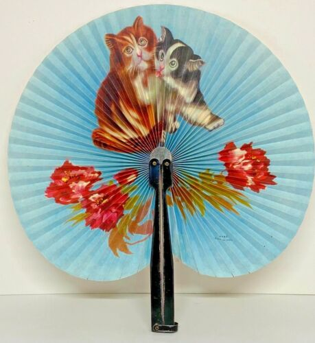 "Vintage Chinese Paper Hand Fan Kittens and Roses 9"" with 6"" Handle Ships Free F1"