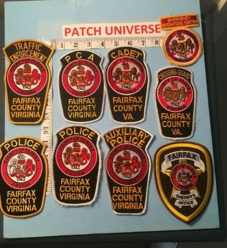 VINTAGE LOT OF 9 DIFFERENT  FAIRFAX COUNTY SHOULDER  PATCHES  M070