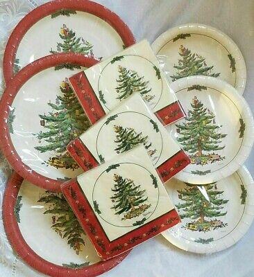 SPODE CHRISTMAS TREE PAPER SERVICE FOR 24 ~ DINNER DESSERT PLATES & NAPKINS NEW  ()